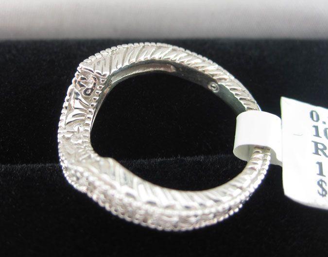 14K WHITE GOLD DIAMOND RING ENHANCER WRAP CURVED BAND INSERT GUARD