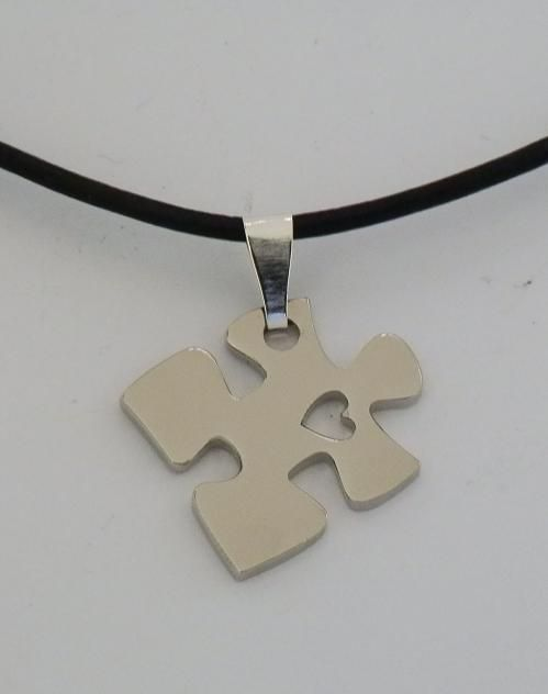 Puzzle Piece with Heart Necklace Autism Awareness