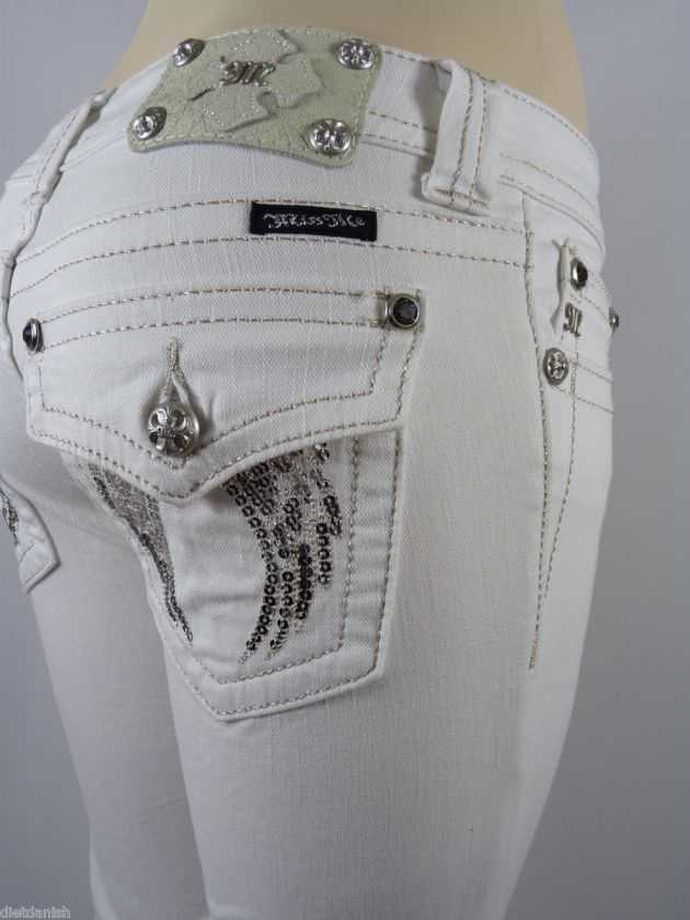 Miss Me Capri Cropped Jeans Womens New Rhinestones White Style