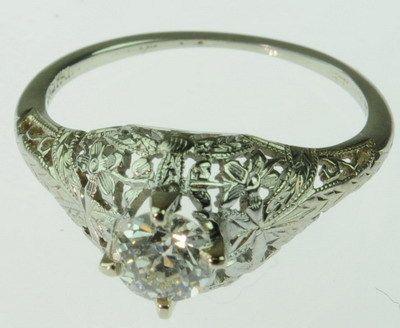 ANTIQUE LADIES 18K WHITE GOLD DIAMOND ART DECO RING 82686