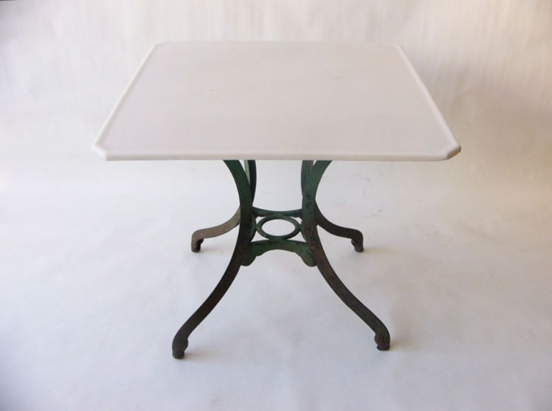 Green Painted Cast Iron Table White Vitrolite Glass Top