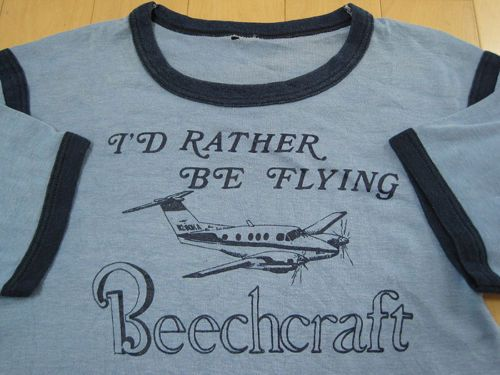 LOOK 70s vtg BEECHCRAFT airplane T SHIRT baron BONANZA