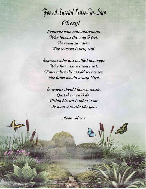Sister In Law Personalized Poem Mothers Day Or Birthday Gift 18